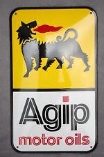 Agip Motor Oils Schild Enamel sign Emailschild ECHTE Emaille 30 x 50 cm