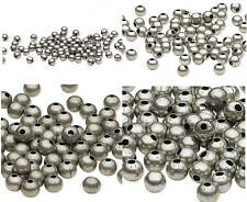 100 Antique Silver Finished Steel Metal Round Spacer Beads 2.5mm 3mm 4mm 6mm 8mm