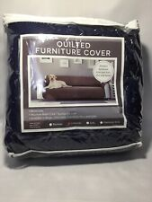 REVERSIBLE Quilted Sofa Cover Furniture Protector Throw, LOVESEAT, Navy