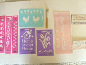 Vintage Stencils & Brush Rag Shop Country Floral Lot of 7 Home Decor Crafts NEW