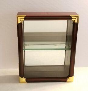 "Wooden Countertop or Wall Display Case Keepsake Storage Cabinet Glass 10"""