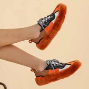 Womens New Fashion Leather Multicolor Lamb Fur  Lace Up Sneaker Casual Shoes SKG