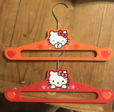 Hello Kitty Wood Clothes Coat Hangers Red Orange 2 Pack Sanrio 2012