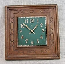 """Mid Century Lux Robert Shaw wall clock 5146-02 WORKS 14"""" x 14"""" Brown/green"""