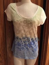 Danskin Yoga Floral Cap Sleeve Top Blouse sz XL Very Pretty Design!