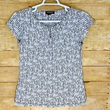 Liz Claiborne Career Womens Blouse Size M Medium Black White Top Short Sleeve