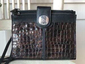 BRIGHTON Black & Brown Croc Embossed Leather Convertible Organizer Crossbody EUC