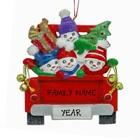 Personalized Snowman Family of 4 In Red Pickup Truck Christmas Ornament