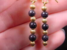 (EE-475-A) deep Blue Purple goldstone night stone + gold beaded dangle earrings