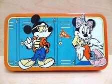 VINTAGE DISNEY Mickey & Minnie Mouse TIN Pencil Box FIFTIES STYLE w/PENCILS