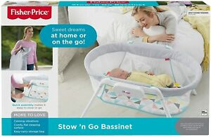 Fisher-Price GBR67 Stow and Go, Portable Bassinet with Calming Vibrations - NEW