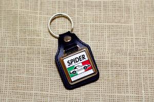 Alfa Romeo Spider Keyring - Leatherette & Chrome Keyfob