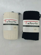 Lot of 2 - Women's NWT Talbots Black and Ivory Tights Control Top Size M