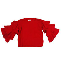 Sheike Red Women's Top Cropped Bell Ruffle Sleeves Size XS Stretch
