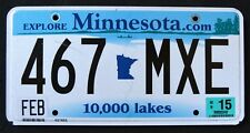 "MINNESOTA "" 10.000 LAKES 467 MXE "" 2015 MN Graphic License Plate"