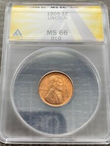AVC - 1909 LINCOLN WHEAT CENT ANACS MS66 RED