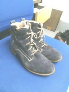 Josef Seibel blue suede leather warm line ankle boots size 6/39
