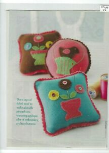 Penny Rug wool Felt Applique Embroidery Pincushions Pattern, Magazine Pages