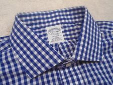 Brooks Brothers Easy Care Cotton Blue Gingham Check Dress Shirt NWT 16.5-34 $92