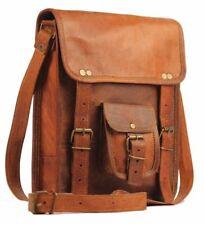 """11""""Mens Leather satchel Vintage Leather messenger Bag Shoulder Bag for i Pad bag"""