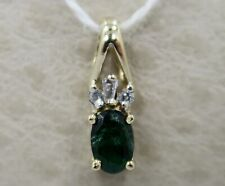 PRETTY ~ 10K Yellow Gold ~ *EMERALD & DIAMOND* Pendant - by JWBR / Kay Jewelers