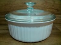 CORNING WARE CORELLE - FRENCH WHITE 1.5 QT ROUND CASSEROLE DISH & PYREX LID