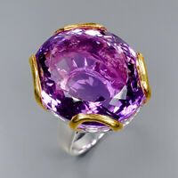 Amethyst Ring Silver 925 Sterling 26x22 mm. IF AAA color 40 ct Size 8.5 /R145328