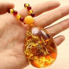 Pendentif en ambre Insecte Abeille chaîne Collier Necklace_