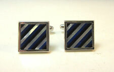 SILVER TONE SQUARE CUFF LINKS W/ DI ANGLE MOTHER OF PEARL, BLUE, BLACK INLAY *