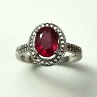 Natural Ruby Gemstone Claw Ring Oval Shape Sterling Silver 925 Ring Size No 7
