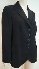 AKRIS Women's Black Wool Blend Formal Tailored Lined Blazer Jacket US12 UK16