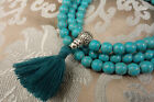 Mala Rosary Made of Real Turquoise + Silver Guru Bead from Nepal! Best Quality