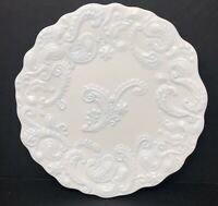 Roscher & Co White Embossed PAISLEY Pattern Salad Plate with Blue Glaze