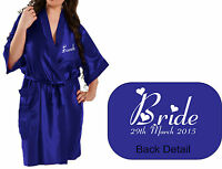 Personalised Wedding Bridal Satin Robe Gown in ROYAL BLUE satin Party / Gift Bag