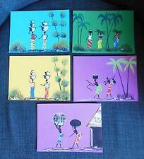 Suite de cinq petites gouaches type africaniste sur papier de couleur vers 1950