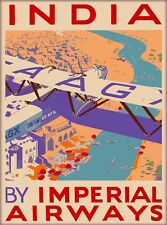 India Southeast Asia By Imperial Airways Vintage Airlines Travel Poster Print