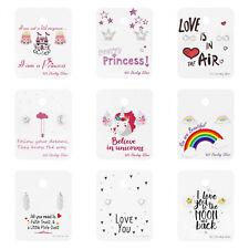 925 Sterling Silver Stud Earrings Unicorn Feather Princess Heart Animal Card