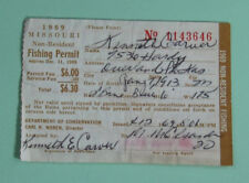 1969 Missouri Non Resident Registration Fishing License Permit.Free Shipping!