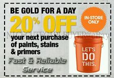 Home Depot 20% Off Paints, Primer, Stain DELIVERY NOW Via eBayMsg IN STORE USE