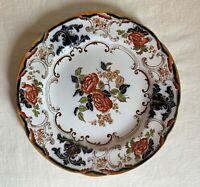 """Wedgwood Etruria """"Camelia"""" dinner plate,coral,cobalt  blue. Antique. 1877-1893"""
