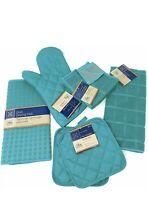7-PC Kitchen Towel Set - Turquoise-Pot Holders, Oven Mitt, Dish Towel,Drying Mat