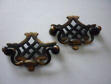 Brass Furniture Handles 2 x Vintage Brass Drop Drawer Pull Handles