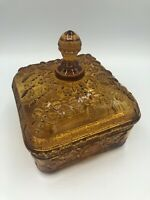 Vintage TIARA Indiana Glass Lidded Square Candy Dish AMBER Honeybees Hive