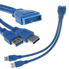 Bleu USB 3.0 20 broches à Double USB 3.0 Type A Mâle Adaptateur Splitter Câble