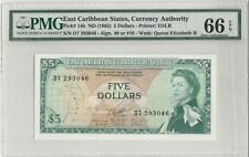 1965 East Caribbean States Five Dollars  Prefix D7 PMG 66 Gem-Uncirculated EPQ