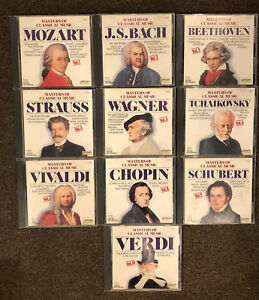 Masters of Classical Music, Vol. 1 - 10 Mozart,Bach, + CD, Oct-1990, Laserlight