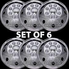 """6 New 16.5"""" GMC RV MOTORHOME CHROME 8 Lug Dual Wheel Simulators Hub Caps Covers"""
