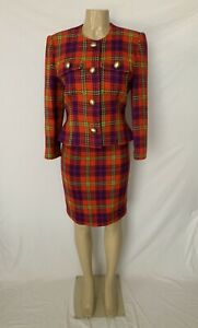 Vintage Unbranded Size 10 Multicolor Tweed Wool Blend 2pc Skirt Suit