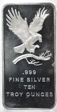 Ten Ounce .999 Silver Bar Eagle Design Lot 499