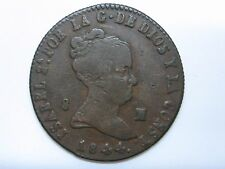 1844 ISABEL II 8 MARAVEDIS JUBIA GENUINE OLD SPAIN SPANISH ESPAÑA